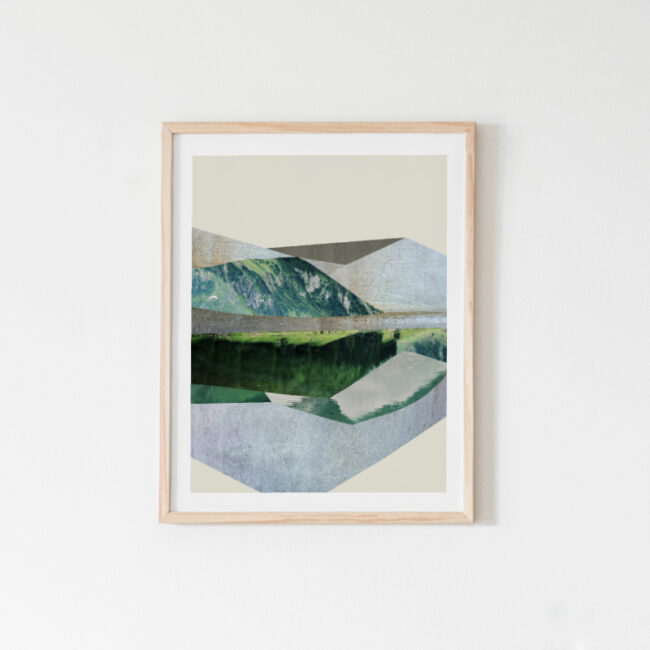 """Green Mountains"", abstract landscape art print"
