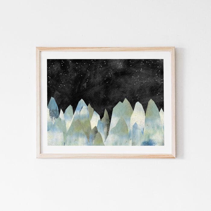 The Icy Mountains, celestial watercolor painting