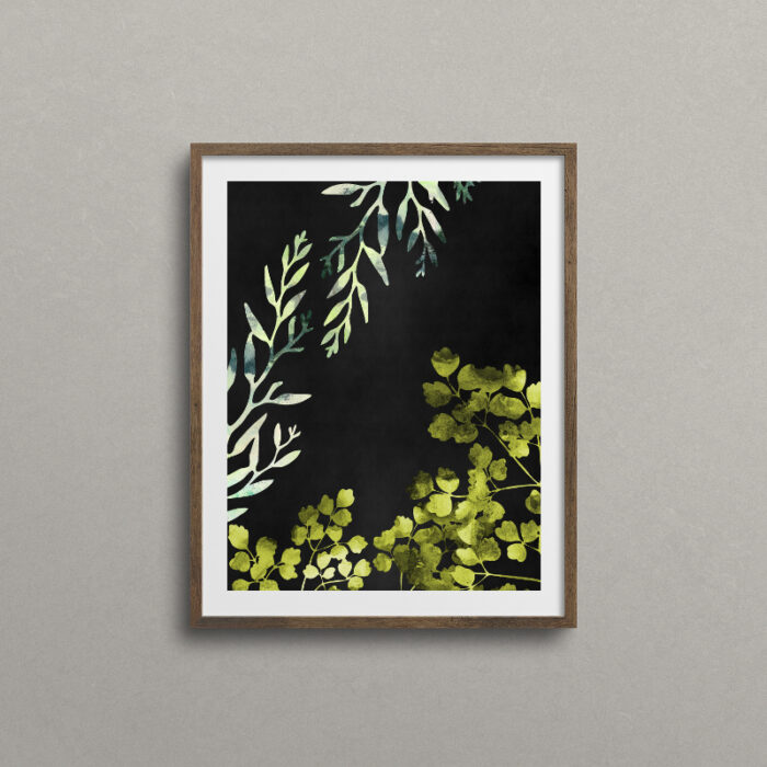 Botanical art, walnut frame