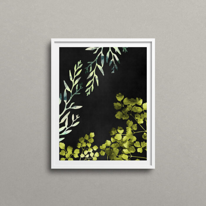 Botanical art print, white frame