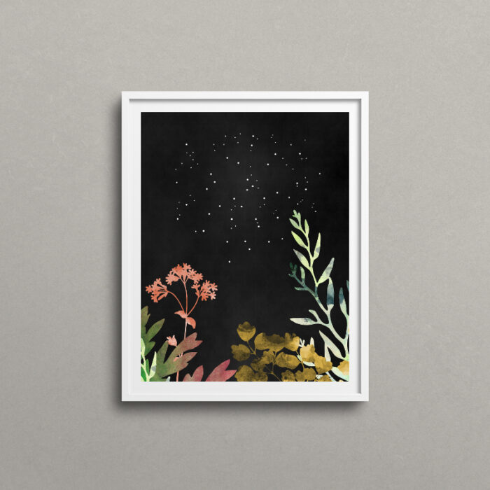 Midnight Forest, floral art print